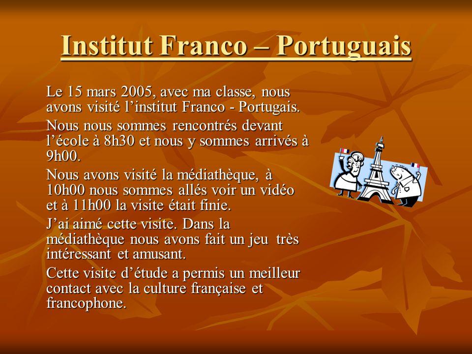 Institut Franco – Portuguais Le 15 mars 2005, avec ma classe, nous avons visité linstitut Franco - Portugais.