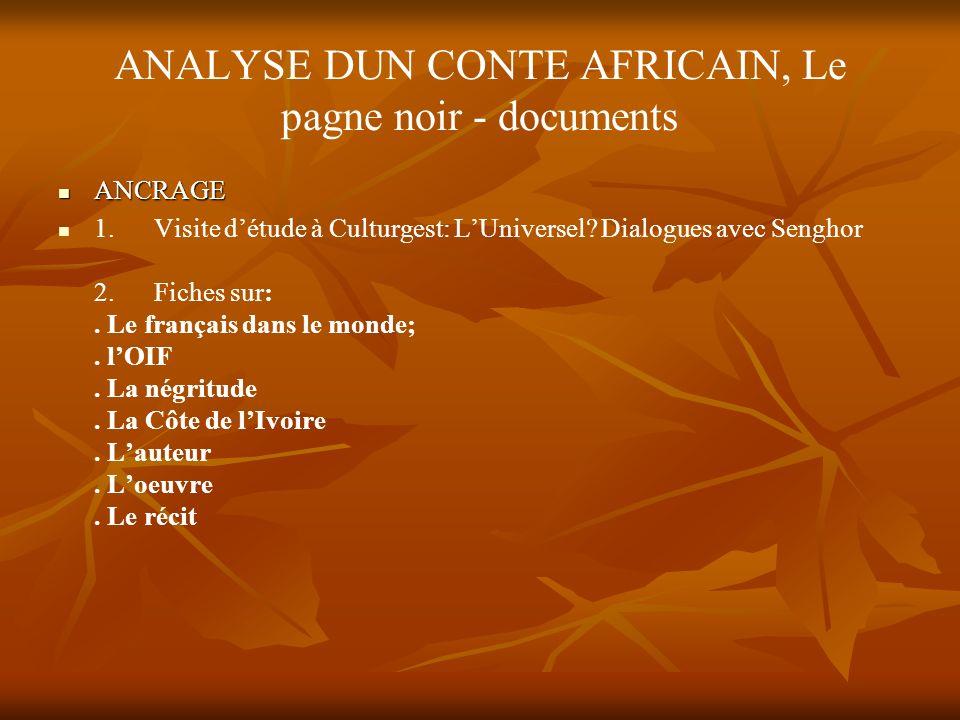 ANALYSE DUN CONTE AFRICAIN, Le pagne noir - documents ANCRAGE ANCRAGE 1.Visite détude à Culturgest: LUniversel.