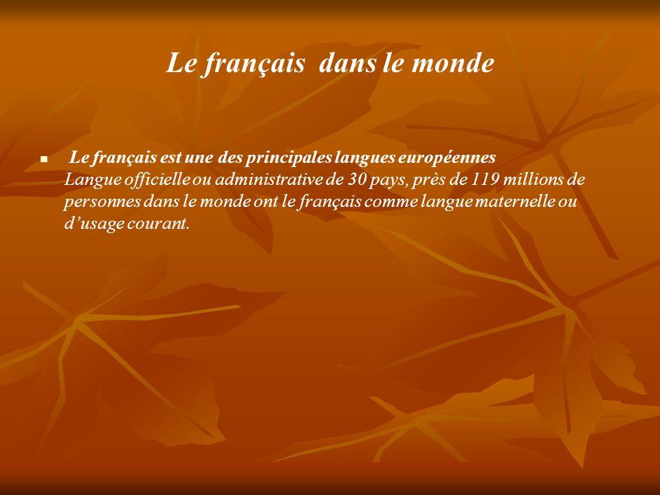 Le français dans le monde Le français est une des principales langues européennes Langue officielle ou administrative de 30 pays, près de 119 millions de personnes dans le monde ont le français comme langue maternelle ou dusage courant.