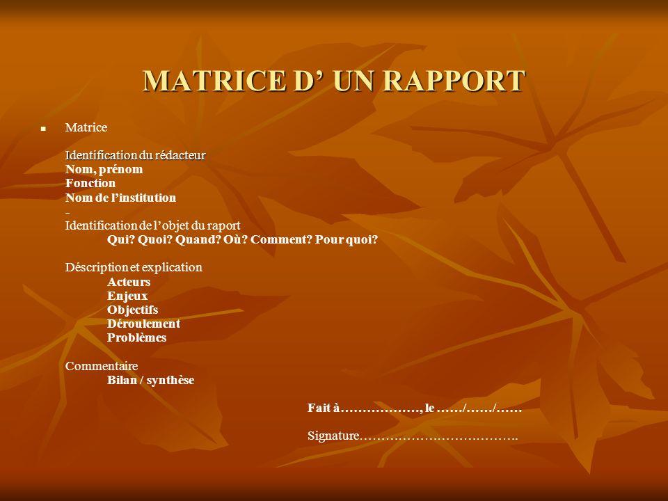 MATRICE D UN RAPPORT Identification du rédacteur Matrice Identification du rédacteur Nom, prénom Fonction Nom de linstitution - Identification de lobjet du raport Qui.