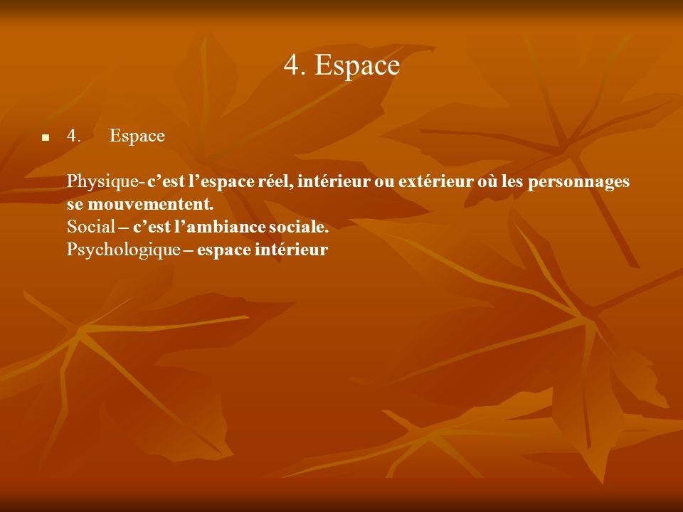 4. Espace 4.Espace Physique- cest lespace réel, intérieur ou extérieur où les personnages se mouvementent. Social – cest lambiance sociale. Psychologi