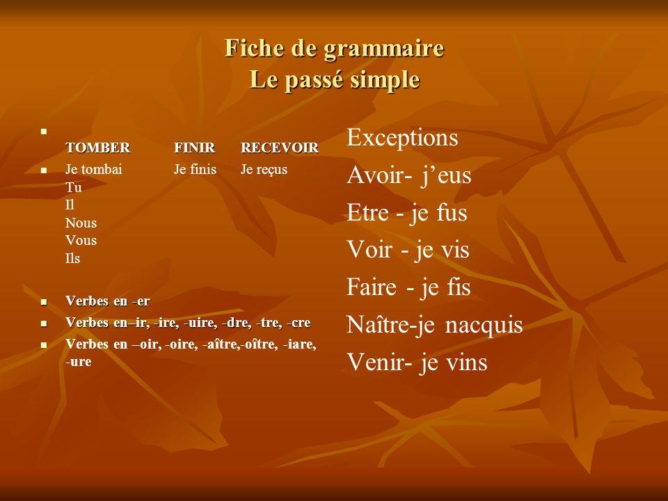 Fiche de grammaire Le passé simple TOMBERFINIRRECEVOIR TOMBERFINIRRECEVOIR Je tombaiJe finisJe reçus Tu Il Nous Vous Ils Verbes en -er Verbes en -er Verbes en–ir, -ire, -uire, -dre, -tre, -cre Verbes en–ir, -ire, -uire, -dre, -tre, -cre Verbes en –oir, -oire, -aître,-oître, -iare, -ure Exceptions Avoir- jeus Etre - je fus Voir - je vis Faire - je fis Naître-je nacquis Venir- je vins