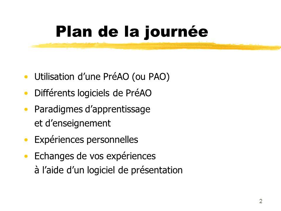 2 Plan de la journée Utilisation dune PréAO (ou PAO) Différents logiciels de PréAO Paradigmes dapprentissage et denseignement Expériences personnelles Echanges de vos expériences à laide dun logiciel de présentation