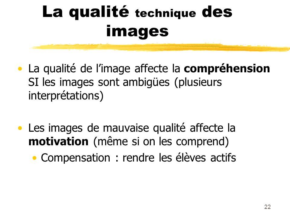 21 Les images Utilisation pédagogique des logiciels de PréAO Synthèse de recherches sur l'efficacité et la lisibilité des images D. Leclecq et V. Mass