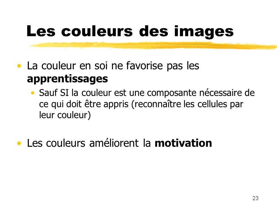 22 La qualité technique des images La qualité de limage affecte la compréhension SI les images sont ambigües (plusieurs interprétations) Les images de
