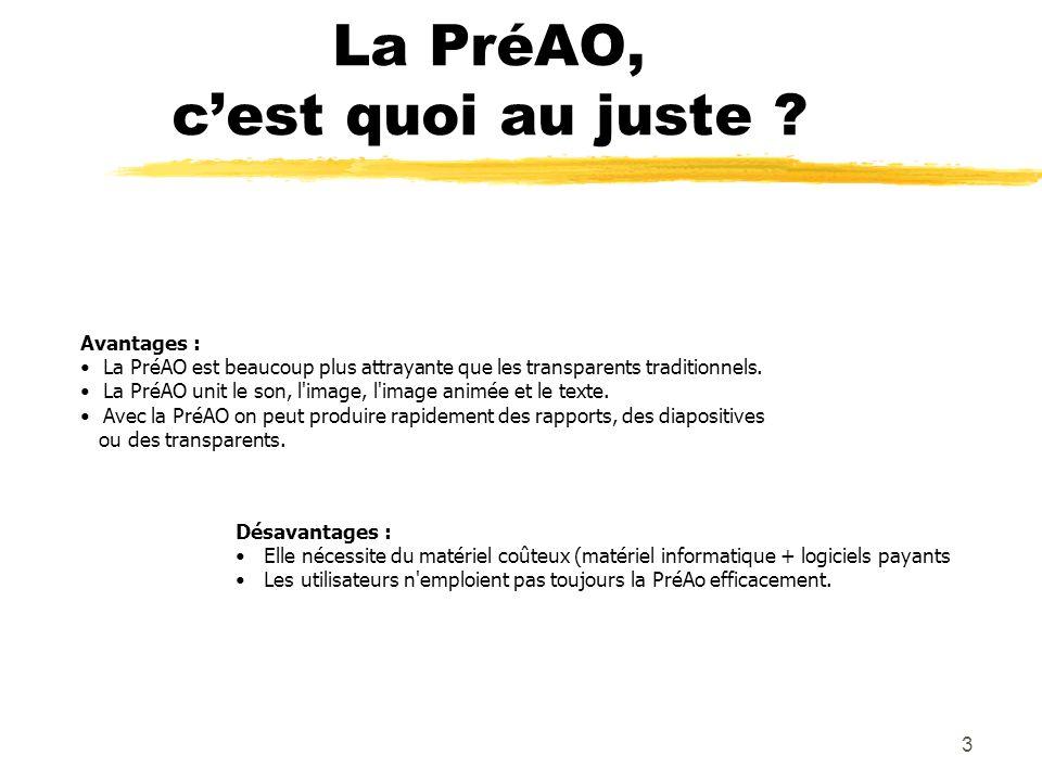 2 Plan de la journée Utilisation dune PréAO (ou PAO) Différents logiciels de PréAO Paradigmes dapprentissage et denseignement Expériences personnelles