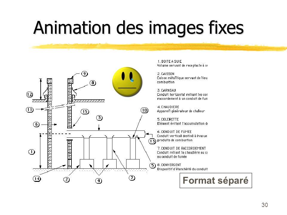 29 Format intégré Animation des images fixes