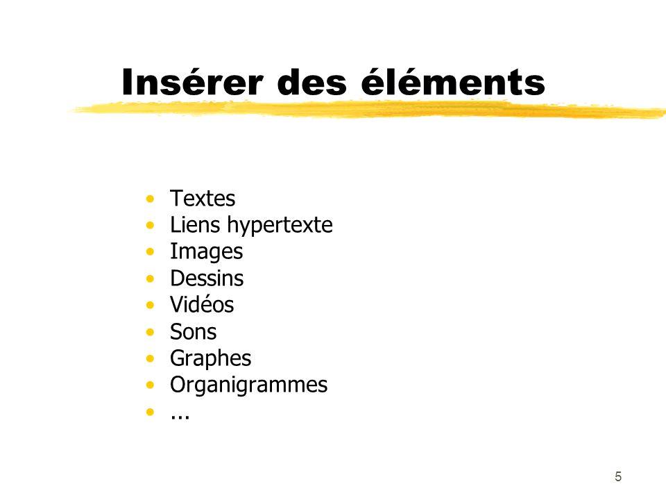 5 Insérer des éléments Textes Liens hypertexte Images Dessins Vidéos Sons Graphes Organigrammes...