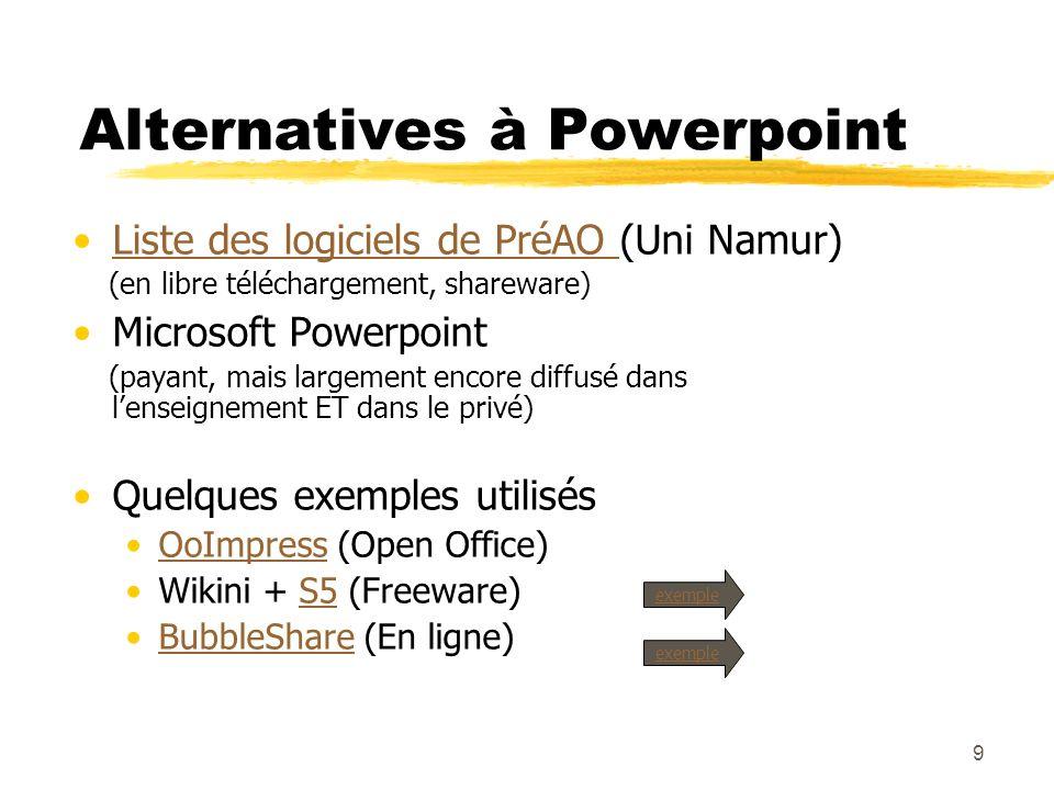 9 Alternatives à Powerpoint Liste des logiciels de PréAO (Uni Namur)Liste des logiciels de PréAO (en libre téléchargement, shareware) Microsoft Powerpoint (payant, mais largement encore diffusé dans lenseignement ET dans le privé) Quelques exemples utilisés OoImpress (Open Office)OoImpress Wikini + S5 (Freeware)S5 BubbleShare (En ligne)BubbleShare exemple