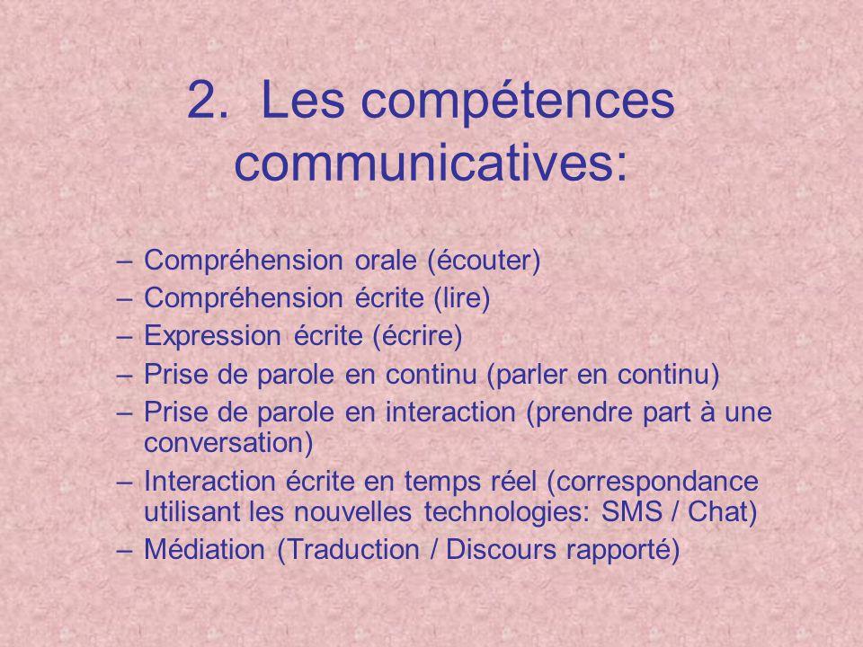 2. Les compétences communicatives: –Compréhension orale (écouter) –Compréhension écrite (lire) –Expression écrite (écrire) –Prise de parole en continu