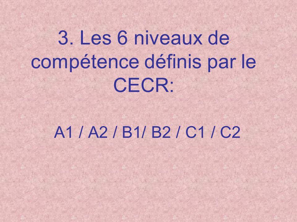 3. Les 6 niveaux de compétence définis par le CECR: A1 / A2 / B1/ B2 / C1 / C2