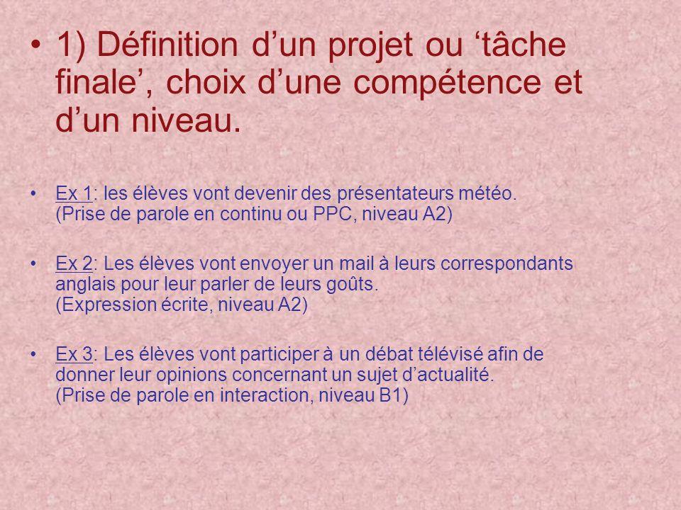 1) Définition dun projet ou tâche finale, choix dune compétence et dun niveau. Ex 1: les élèves vont devenir des présentateurs météo. (Prise de parole