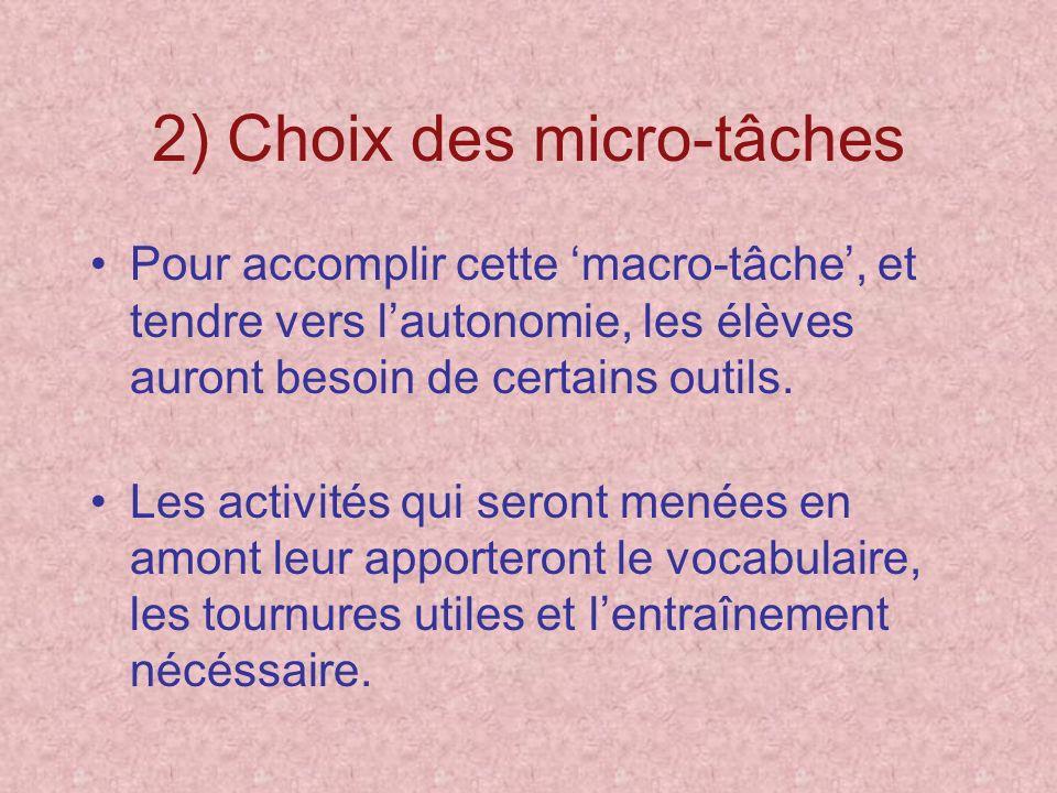 2) Choix des micro-tâches Pour accomplir cette macro-tâche, et tendre vers lautonomie, les élèves auront besoin de certains outils. Les activités qui
