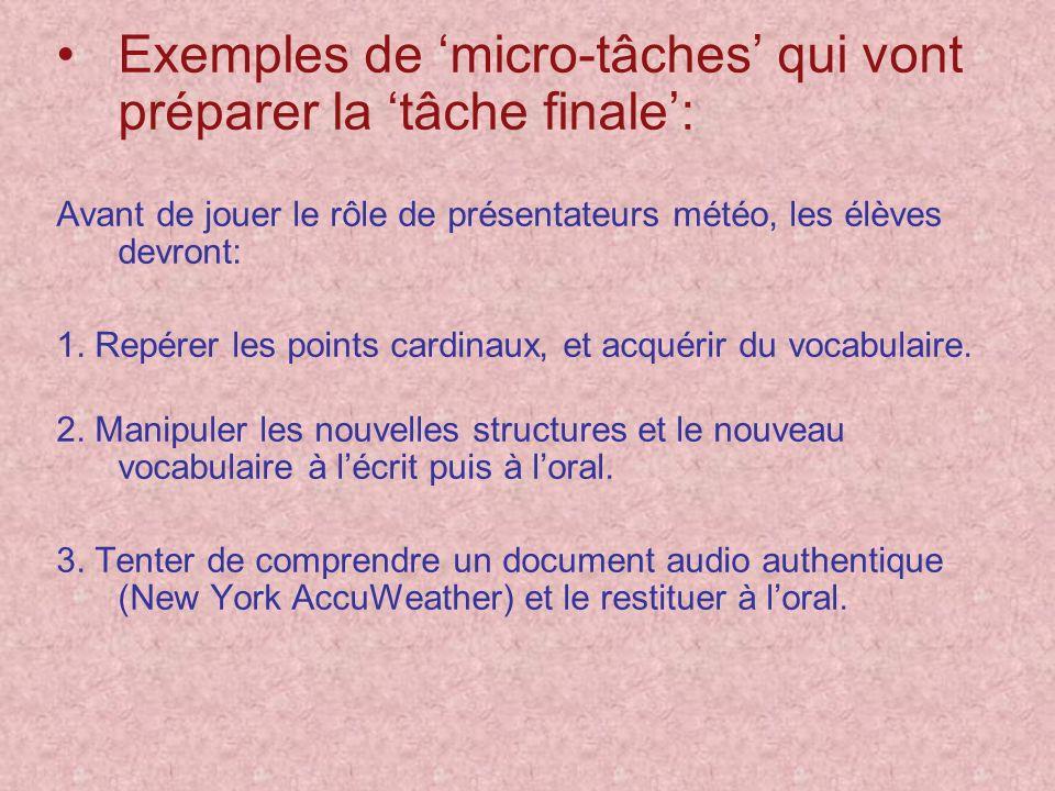 Exemples de micro-tâches qui vont préparer la tâche finale: Avant de jouer le rôle de présentateurs météo, les élèves devront: 1. Repérer les points c