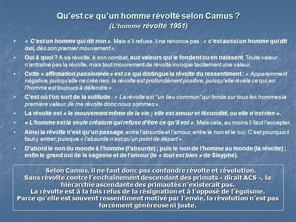 Quest ce quun homme révolté selon Camus ? ( Lhomme révolté 1951) « Cest un homme qui dit non ». Mais sil refuse, il ne renonce pas : « cest aussi un h