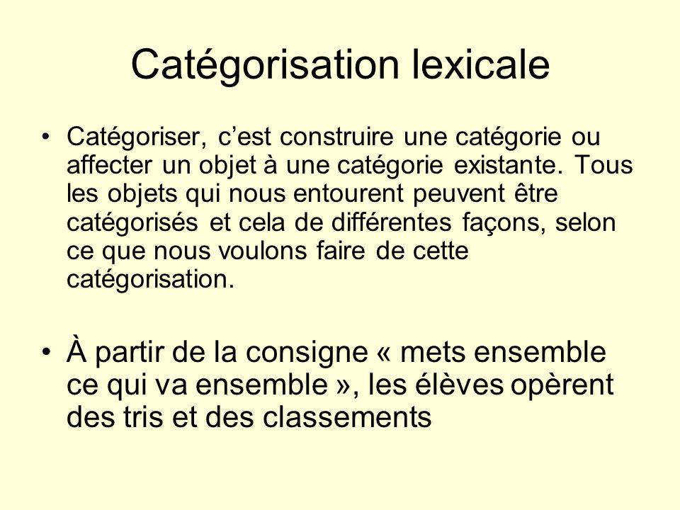 Catégorisation lexicale Catégoriser, cest construire une catégorie ou affecter un objet à une catégorie existante. Tous les objets qui nous entourent