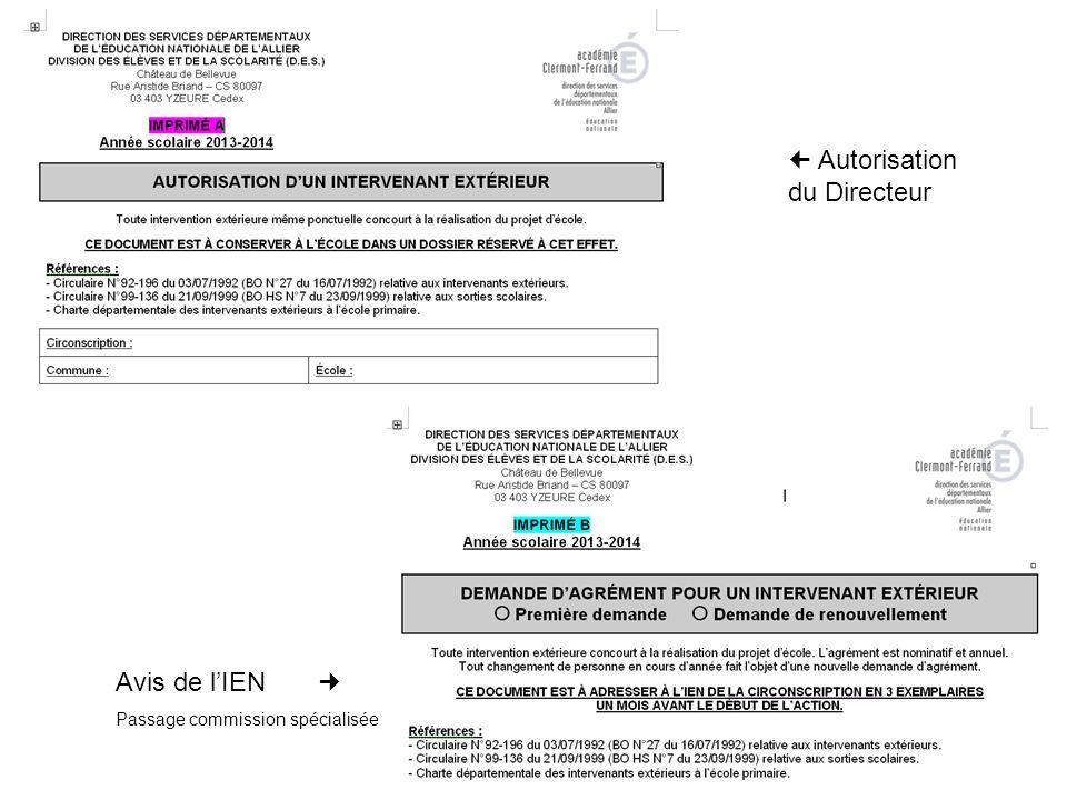 Autorisation du Directeur Avis de lIEN Passage commission spécialisée