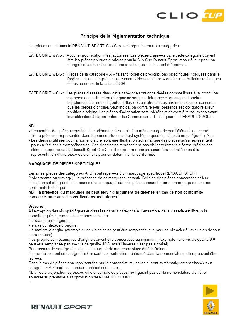 Principe de la réglementation technique Les pièces constituant la RENAULT SPORT Clio Cup sont réparties en trois catégories: CATÉGORIE « A » : Aucune