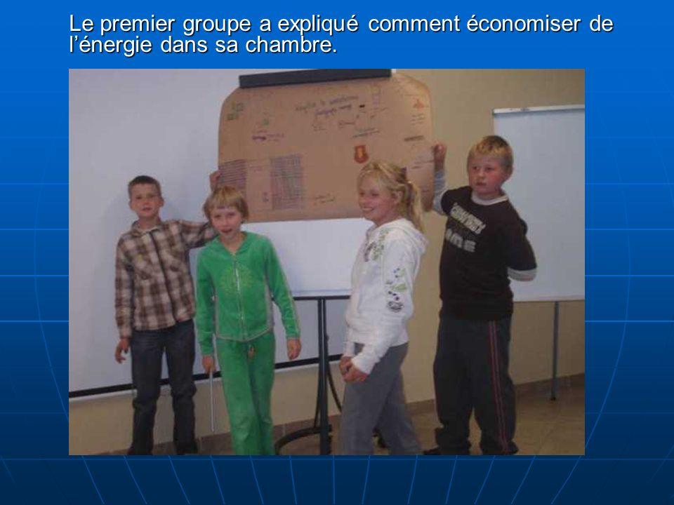 Le premier groupe a expliqué comment économiser de lénergie dans sa chambre.