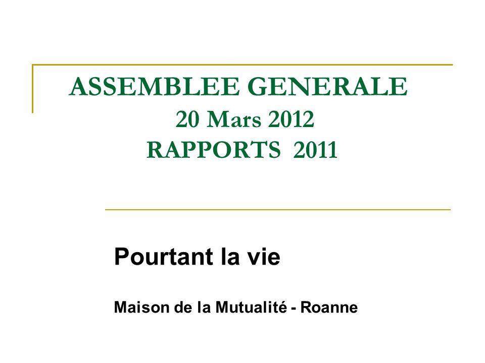 ASSEMBLEE GENERALE 20 Mars 2012 RAPPORTS 2011 Pourtant la vie Maison de la Mutualité - Roanne