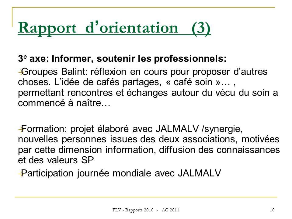 PLV - Rapports 2010 - AG 2011 10 3 e axe: Informer, soutenir les professionnels: Groupes Balint: réflexion en cours pour proposer dautres choses.
