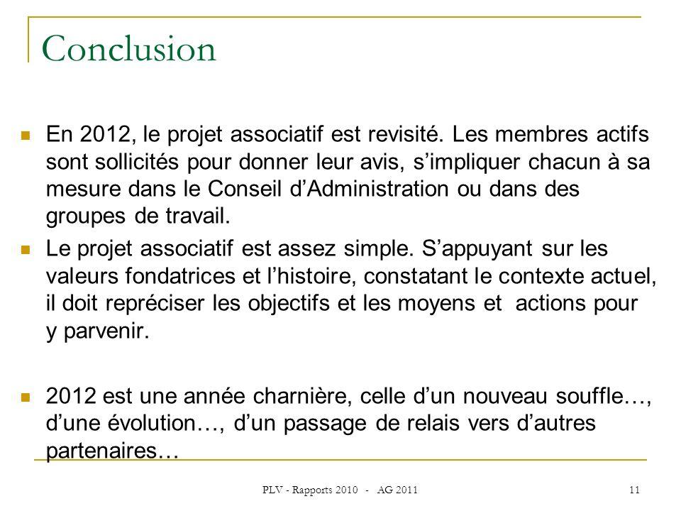 PLV - Rapports 2010 - AG 2011 11 Conclusion En 2012, le projet associatif est revisité.