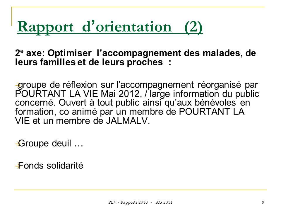 PLV - Rapports 2010 - AG 2011 9 2 e axe: Optimiser laccompagnement des malades, de leurs familles et de leurs proches : groupe de réflexion sur laccompagnement réorganisé par POURTANT LA VIE Mai 2012, / large information du public concerné.