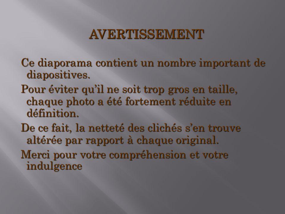 AVERTISSEMENT Ce diaporama contient un nombre important de diapositives.