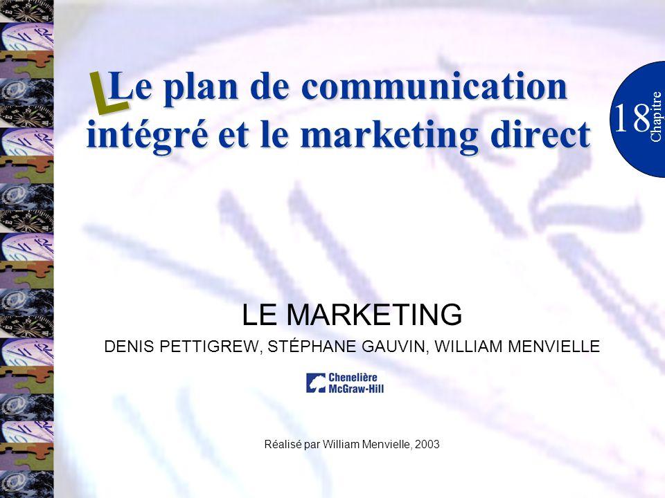 Le plan de communication intégré et le marketing direct 18 Chapitre LE MARKETING DENIS PETTIGREW, STÉPHANE GAUVIN, WILLIAM MENVIELLE Réalisé par Willi
