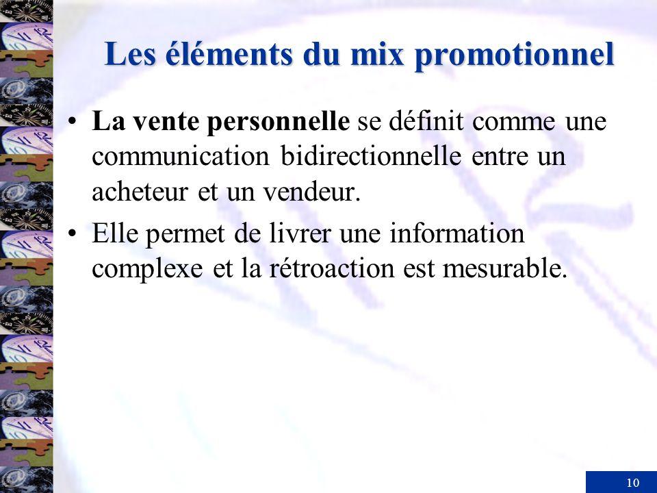10 Les éléments du mix promotionnel La vente personnelle se définit comme une communication bidirectionnelle entre un acheteur et un vendeur. Elle per