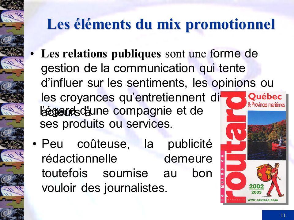 11 Les éléments du mix promotionnel Les relations publiques sont une f orme de gestion de la communication qui tente dinfluer sur les sentiments, les