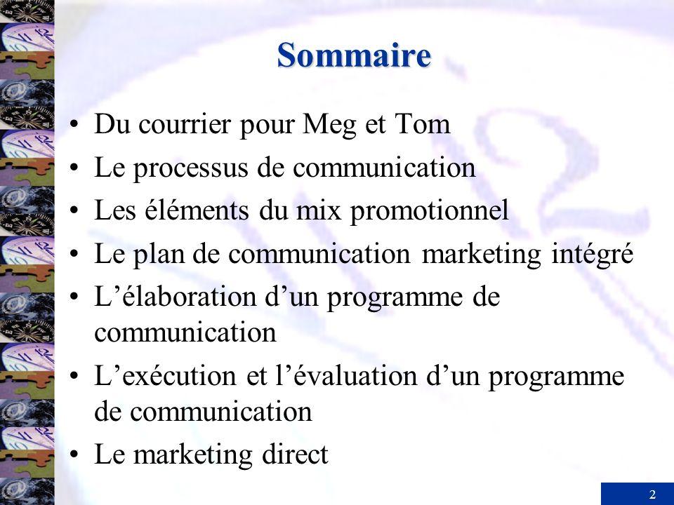2 Sommaire Du courrier pour Meg et Tom Le processus de communication Les éléments du mix promotionnel Le plan de communication marketing intégré Lélab