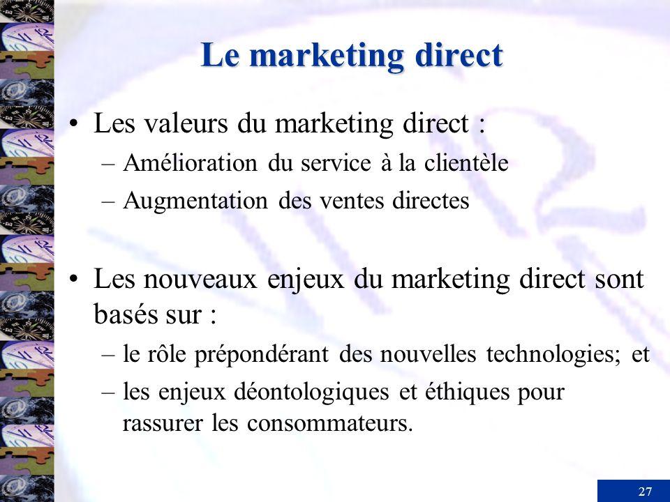 27 Le marketing direct Les valeurs du marketing direct : –Amélioration du service à la clientèle –Augmentation des ventes directes Les nouveaux enjeux