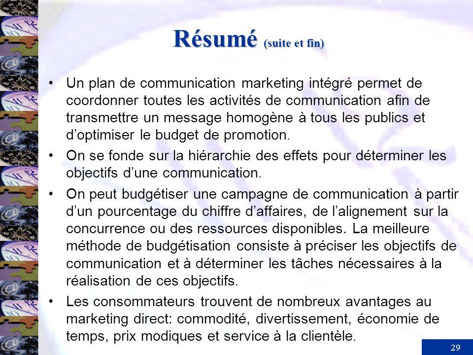 29 Résumé (suite et fin) Un plan de communication marketing intégré permet de coordonner toutes les activités de communication afin de transmettre un