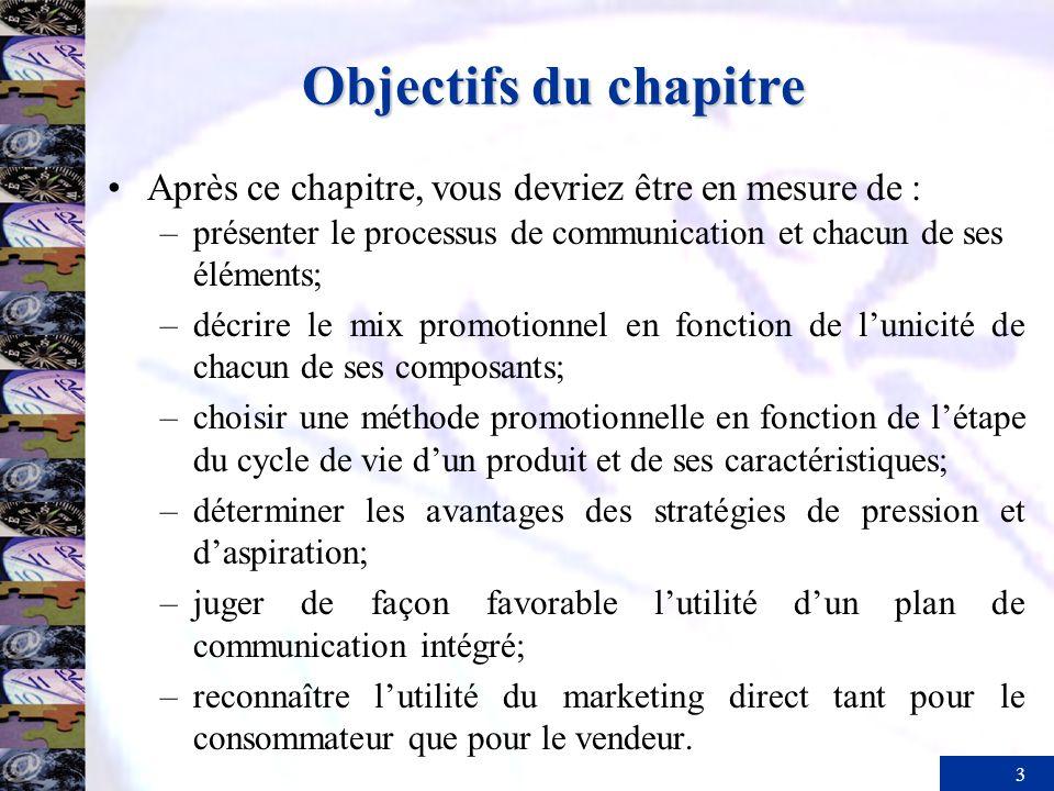 3 Objectifs du chapitre Après ce chapitre, vous devriez être en mesure de : –présenter le processus de communication et chacun de ses éléments; –décri