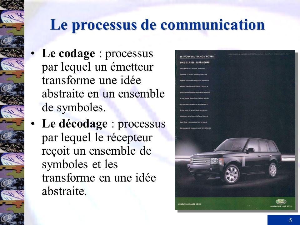 5 Le processus de communication Le codage : processus par lequel un émetteur transforme une idée abstraite en un ensemble de symboles. Le décodage : p