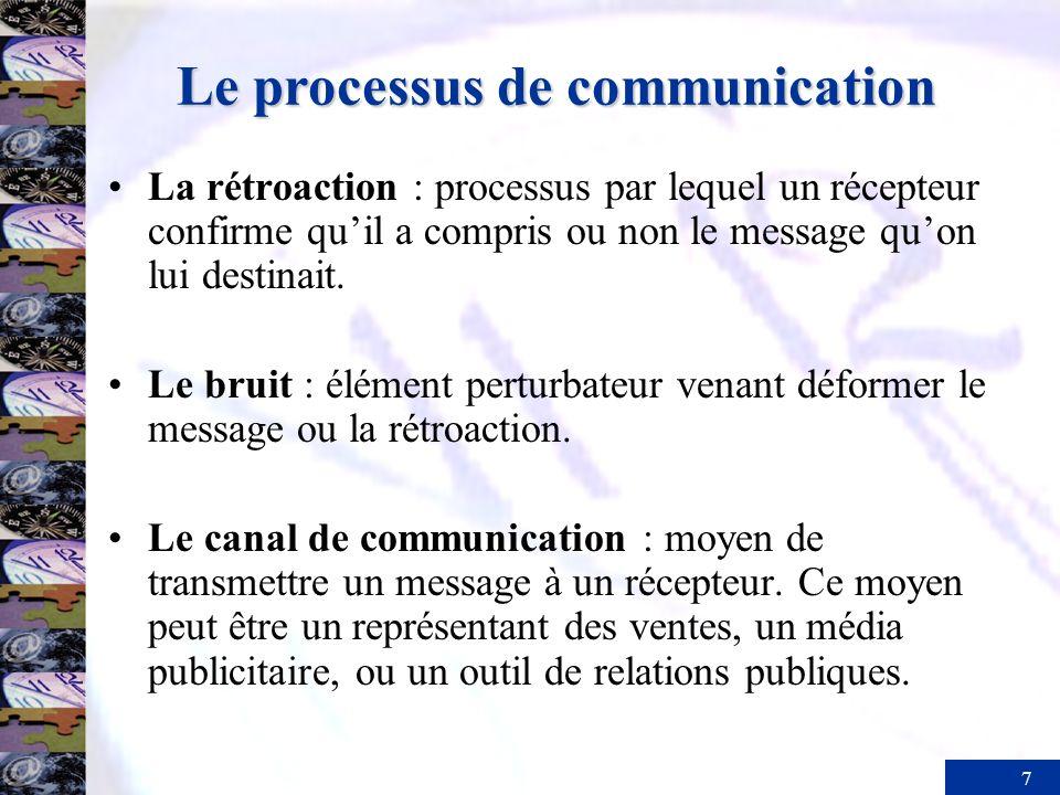 7 Le processus de communication La rétroaction : processus par lequel un récepteur confirme quil a compris ou non le message quon lui destinait. Le br