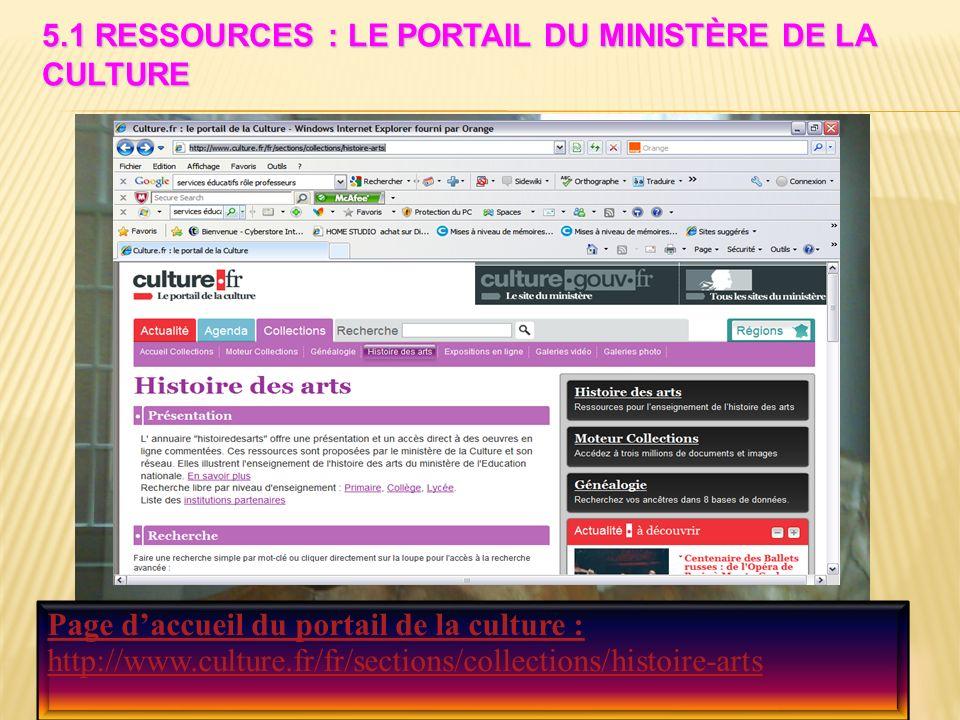 5.1 RESSOURCES : LE PORTAIL DU MINISTÈRE DE LA CULTURE Page daccueil du portail de la culture : http://www.culture.fr/fr/sections/collections/histoire-arts