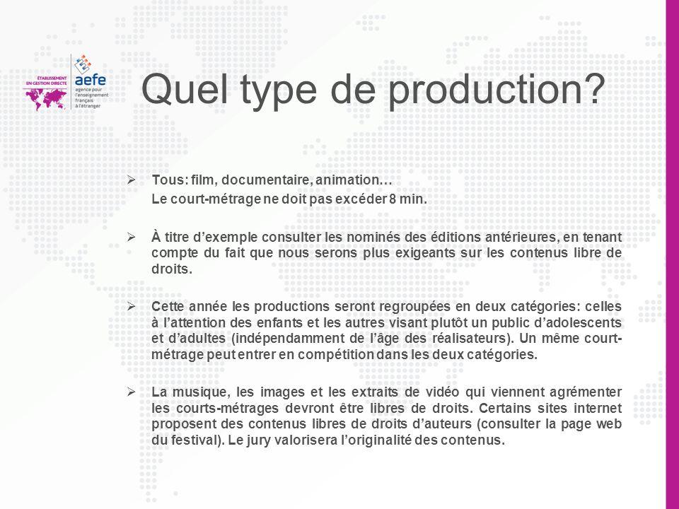 Quel type de production? Tous: film, documentaire, animation… Le court-métrage ne doit pas excéder 8 min. À titre dexemple consulter les nominés des é