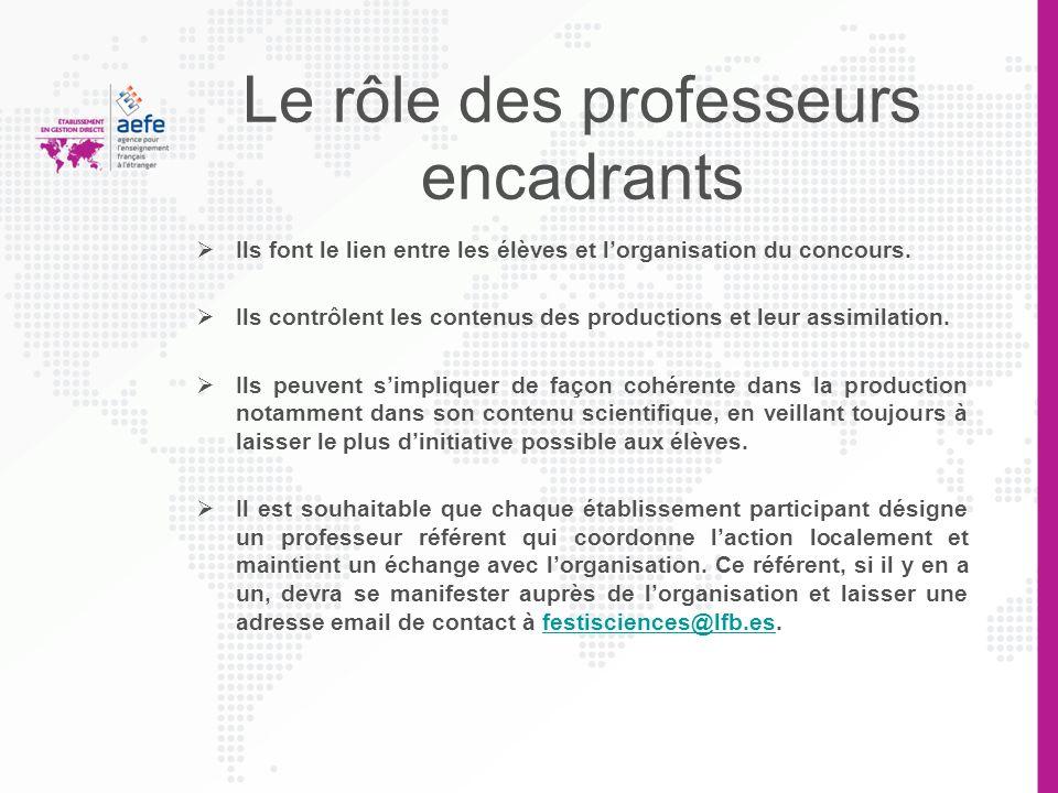 Le rôle des professeurs encadrants Ils font le lien entre les élèves et lorganisation du concours. Ils contrôlent les contenus des productions et leur