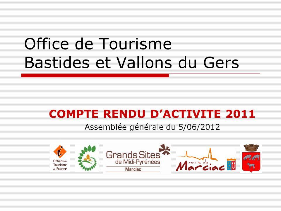 Office de Tourisme Bastides et Vallons du Gers COMPTE RENDU DACTIVITE 2011 Assemblée générale du 5/06/2012