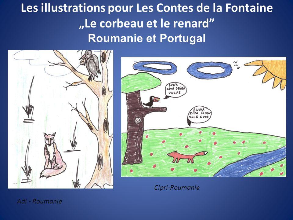 Les illustrations pour Les Contes de la Fontaine Le corbeau et le renard Roumanie et Portugal Adi - Roumanie Cipri-Roumanie