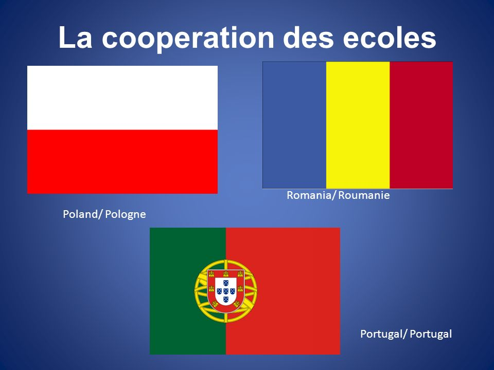 La cooperation des ecoles Poland/ Pologne Romania/ Roumanie Portugal/ Portugal