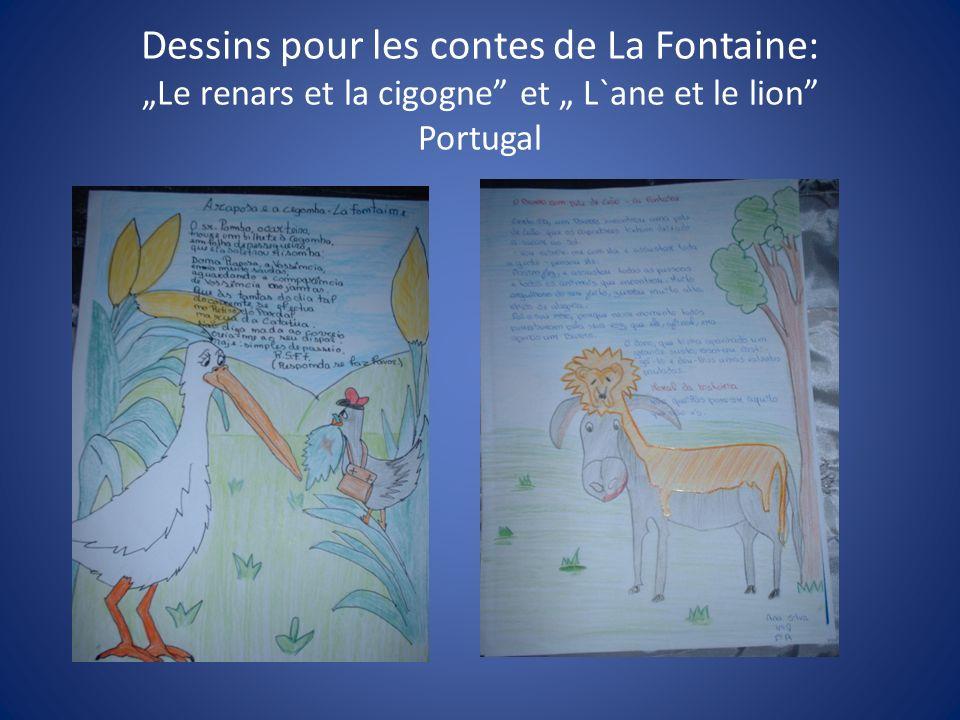 Dessins pour les contes de La Fontaine: Le renars et la cigogne et L`ane et le lion Portugal
