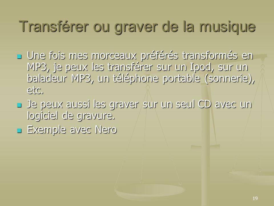 19 Transférer ou graver de la musique Une fois mes morceaux préférés transformés en MP3, je peux les transférer sur un Ipod, sur un baladeur MP3, un téléphone portable (sonnerie), etc.