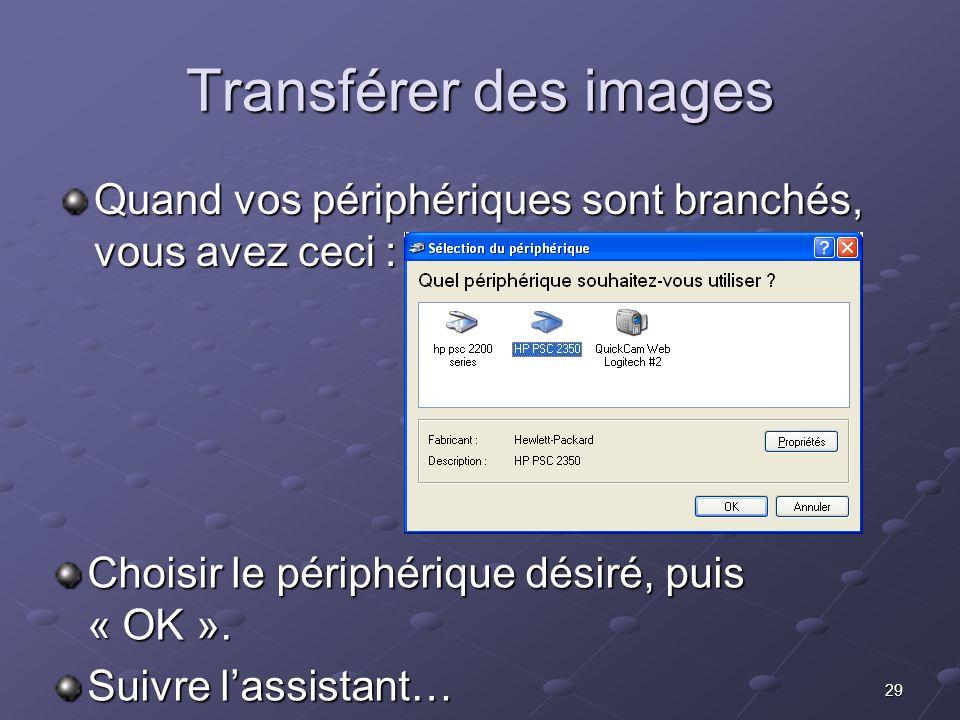29 Transférer des images Quand vos périphériques sont branchés, vous avez ceci : Choisir le périphérique désiré, puis « OK ».