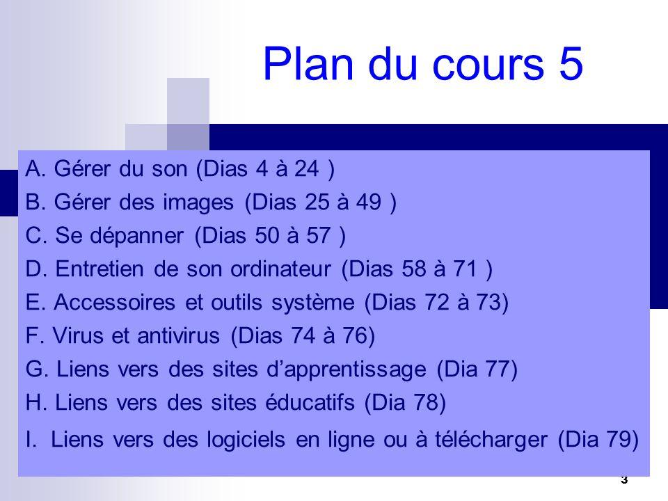 3 Plan du cours 5 A.Gérer du son (Dias 4 à 24 ) B.