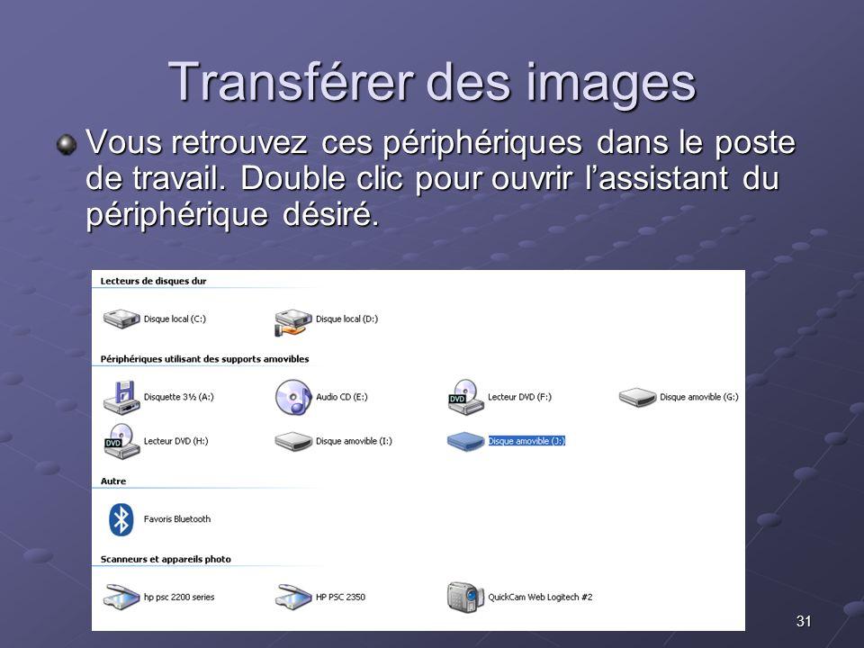 31 Transférer des images Vous retrouvez ces périphériques dans le poste de travail.