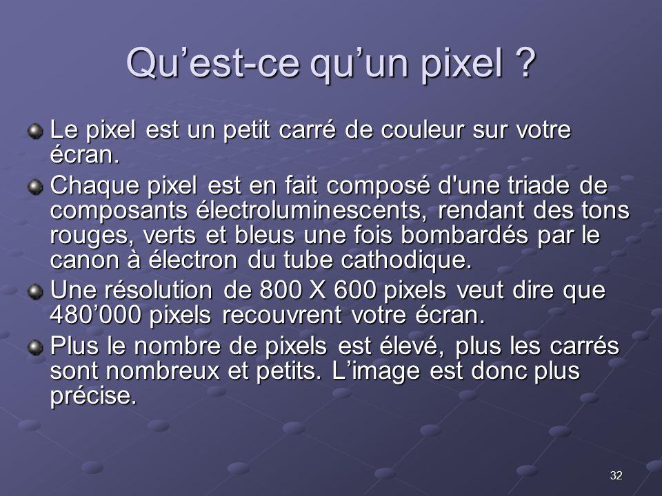 32 Quest-ce quun pixel .Le pixel est un petit carré de couleur sur votre écran.