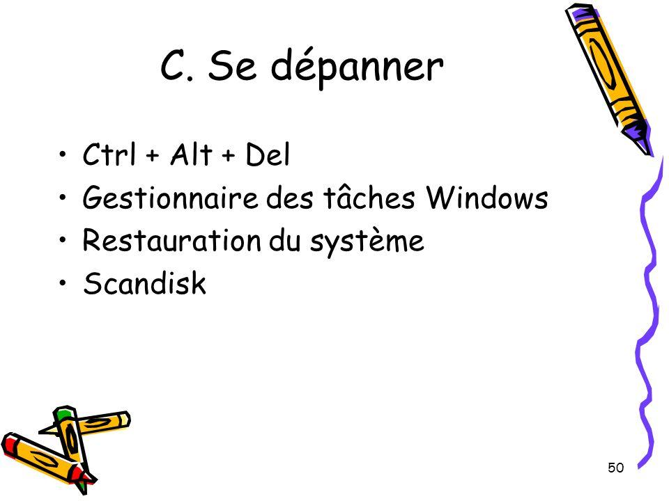 50 C. Se dépanner Ctrl + Alt + Del Gestionnaire des tâches Windows Restauration du système Scandisk